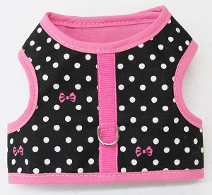 Black with White Dots and Pink Bows Harness