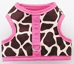 Brown Giraffe with pink binding walking harness