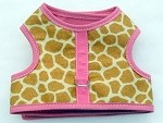 Beige Giraffe with Pink Binding Harness