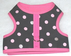 Black with Pink and Silver Dots Harness